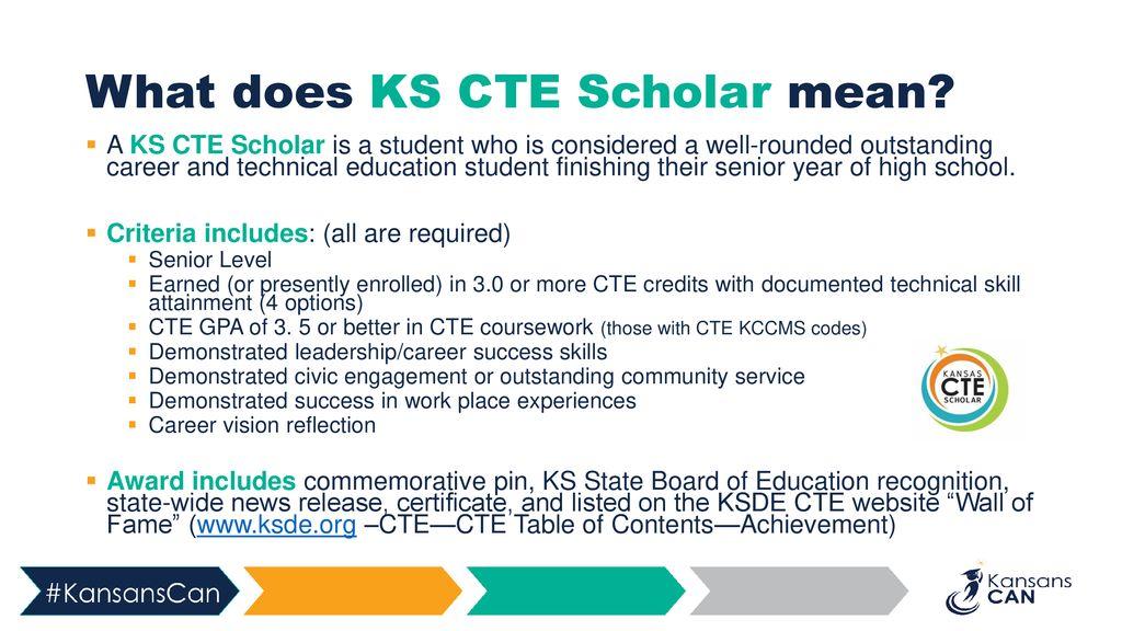 2019 KS CTE Scholar Recognition - ppt download