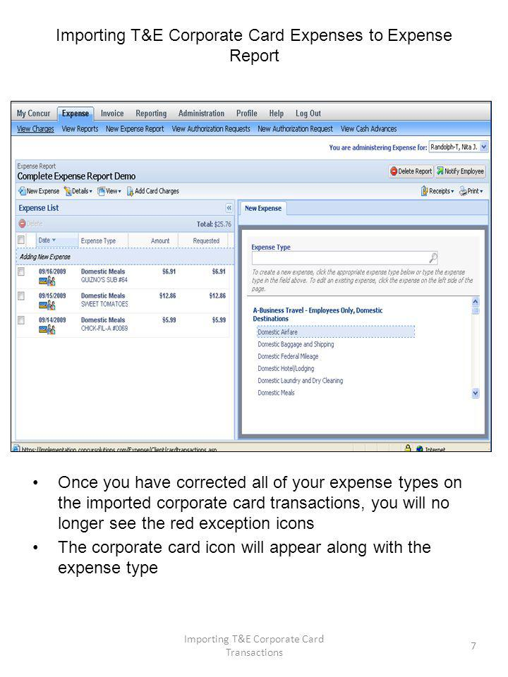 Importing T&E Corporate Card Expenses to Expense Report