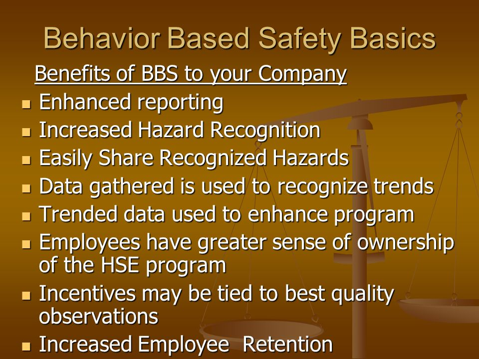 Behavior Based Safety The following slides provide an ...