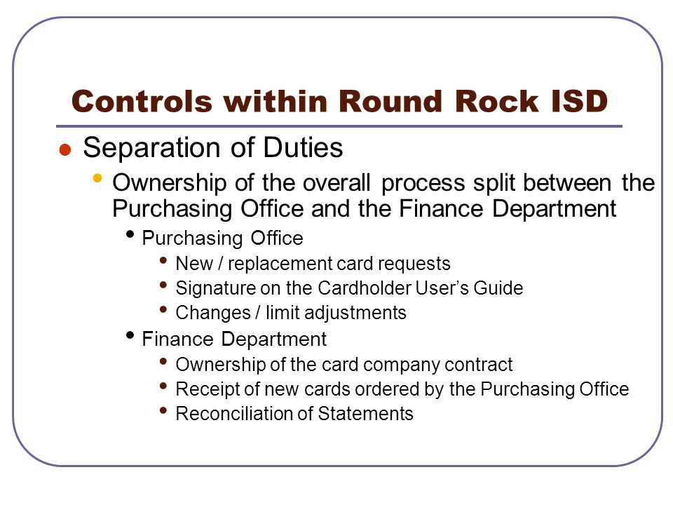 Controls within Round Rock ISD