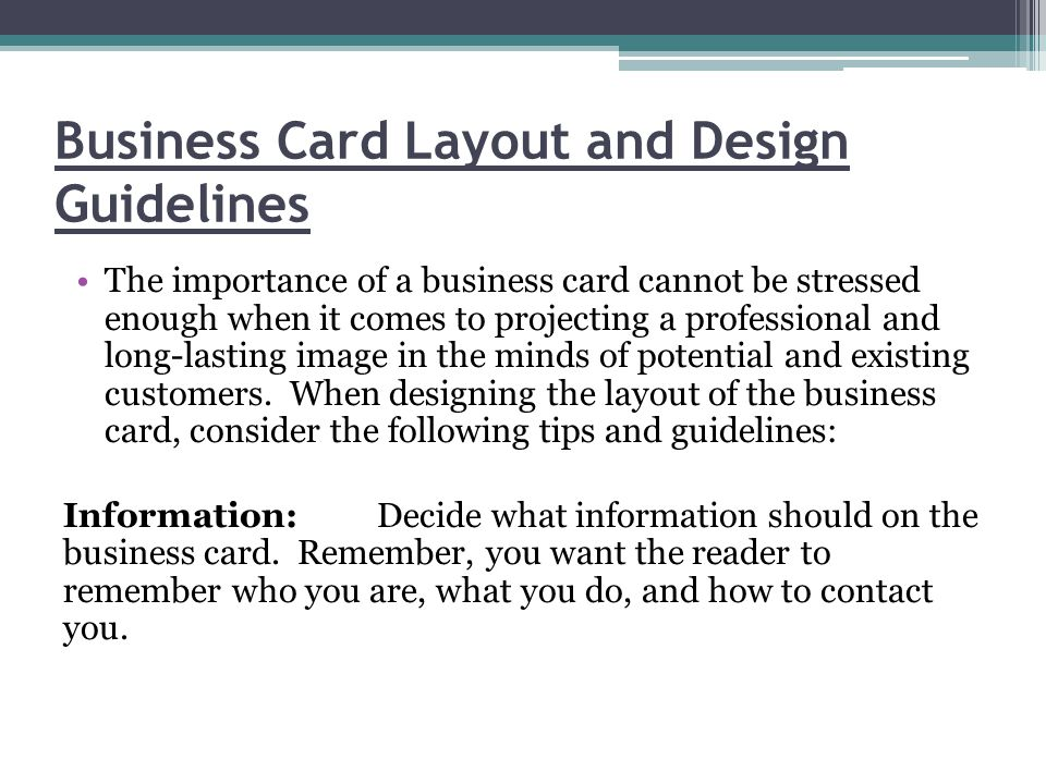 What to include and design hints ppt video online download business card layout and design guidelines reheart Image collections