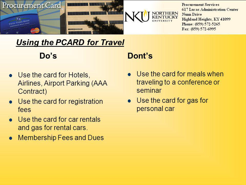 Using the PCARD for Travel