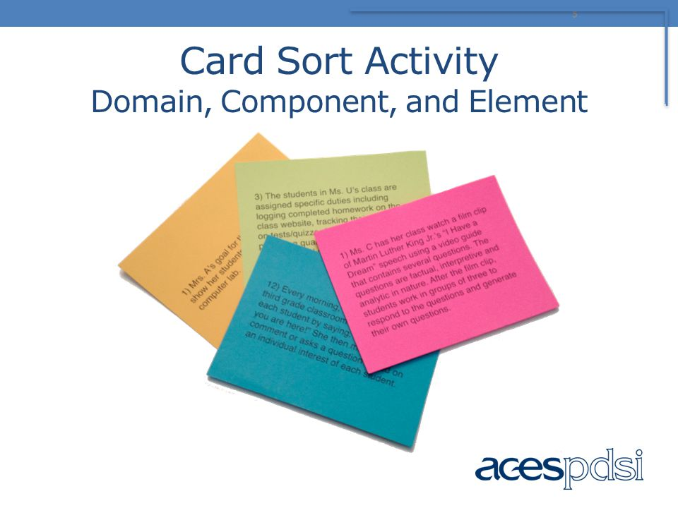 Card Sort Activity Domain, Component, and Element