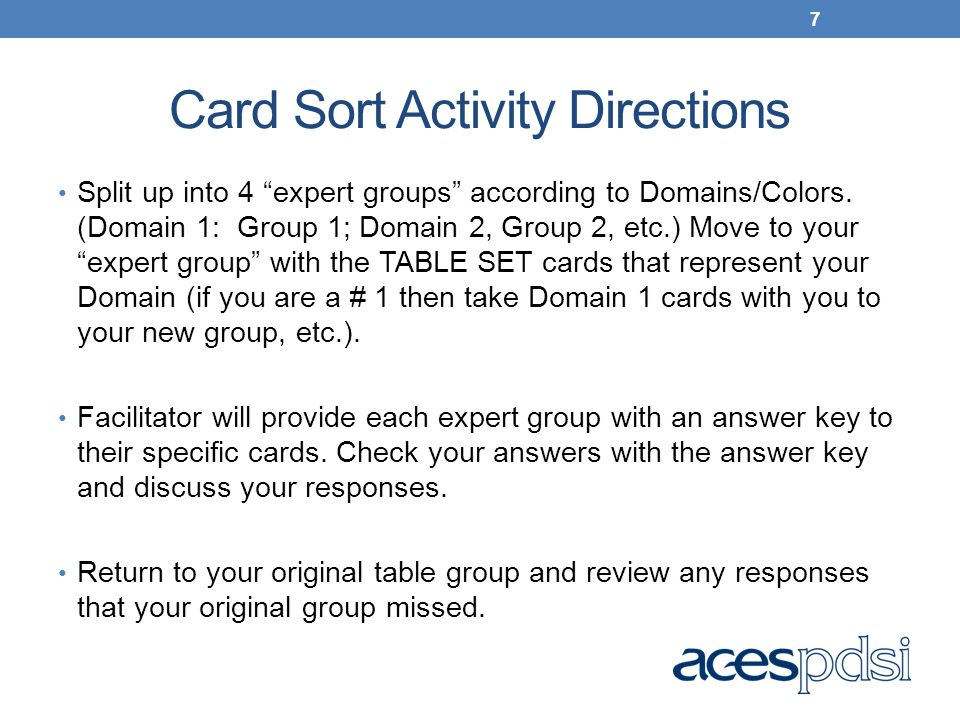 Card Sort Activity Directions