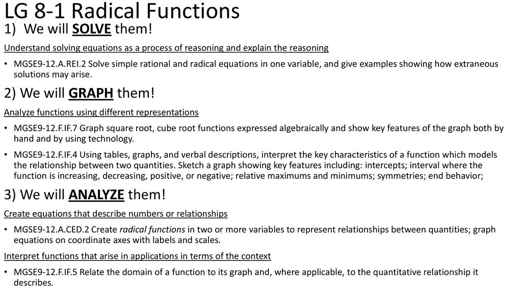 LG 8 1 Radical Functions We Will SOLVE Them 2 GRAPH