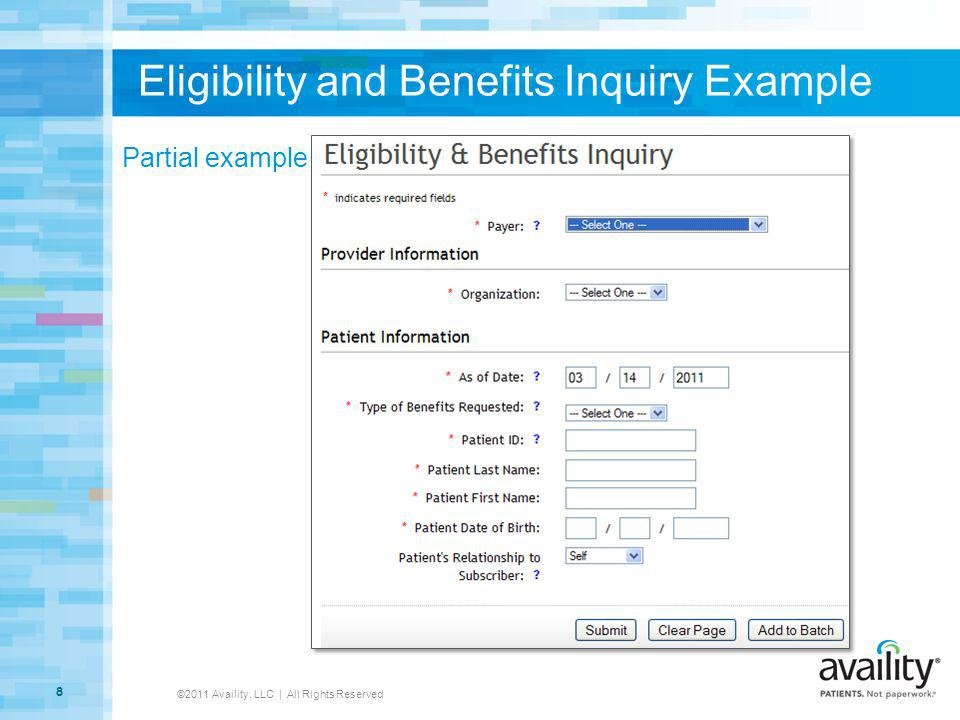 Eligibility and Benefits Inquiry Example