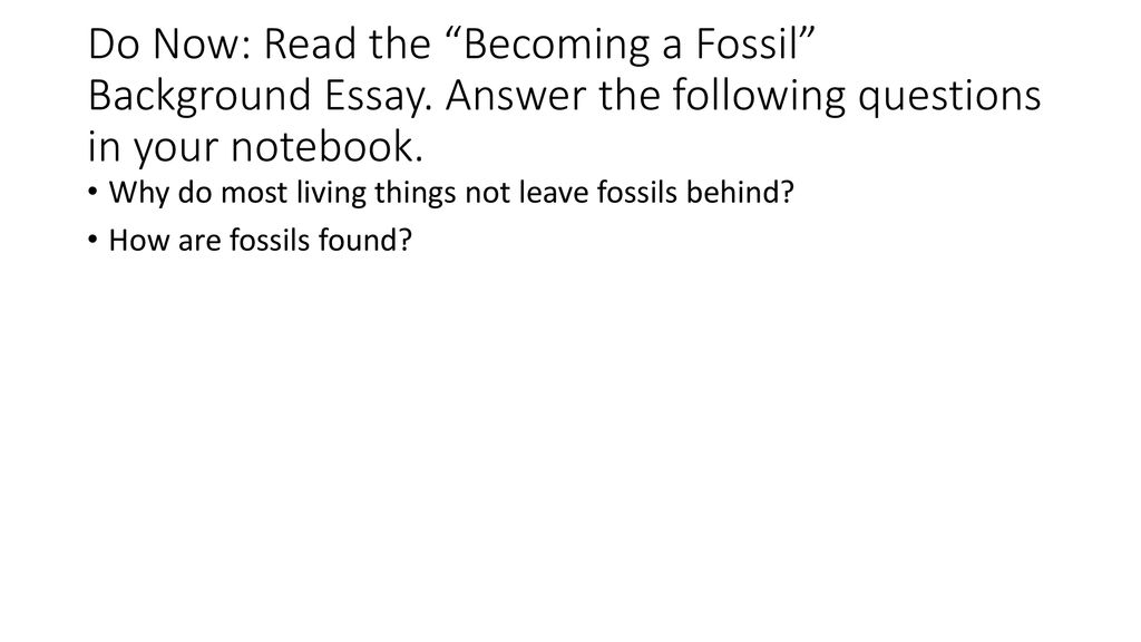 Fossil Evidence Of Evolution  Ppt Download Do Now Read The Becoming A Fossil Background Essay Student Life Essay In English also A Healthy Mind In A Healthy Body Essay  Synthesis Essay Topics