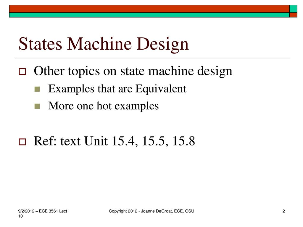 L10 – additional State Machine examples - ppt download