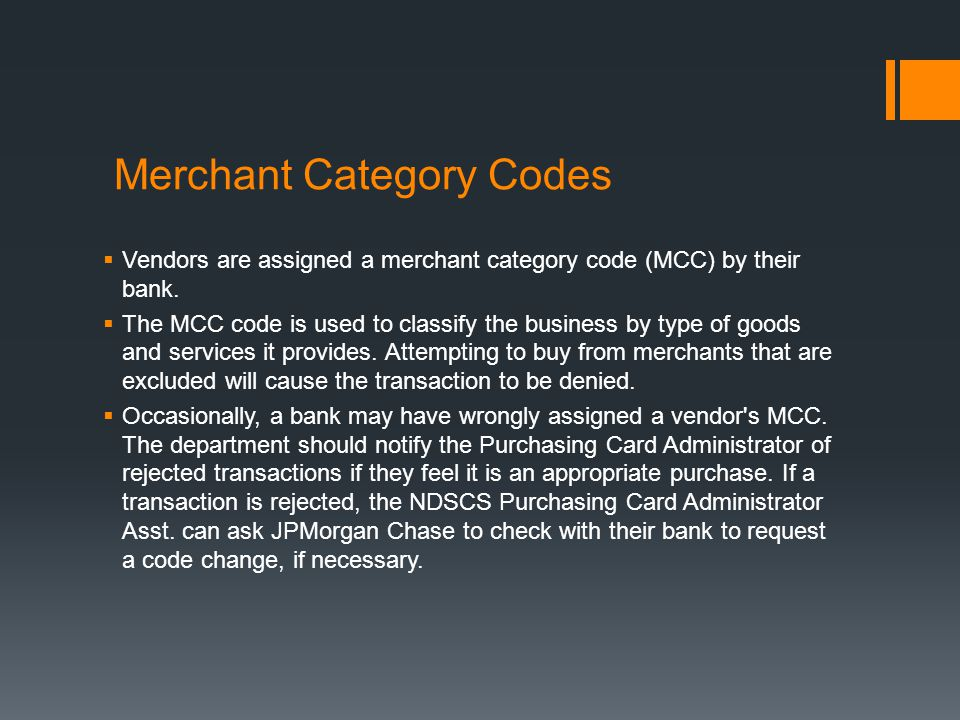 Merchant Category Codes
