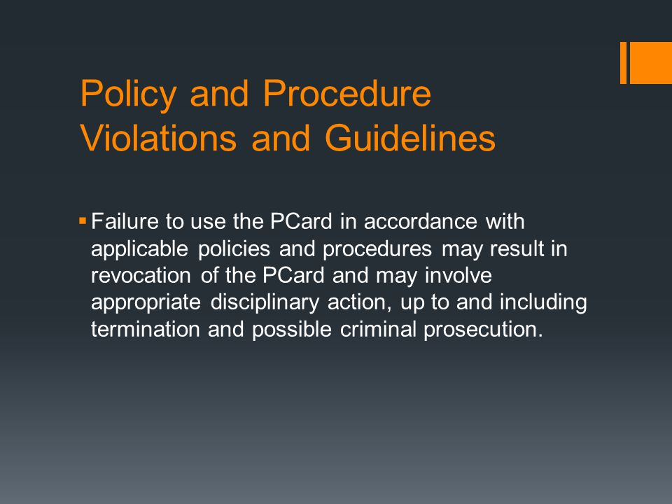 Policy and Procedure Violations and Guidelines