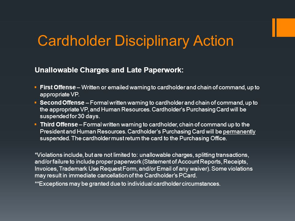 Cardholder Disciplinary Action