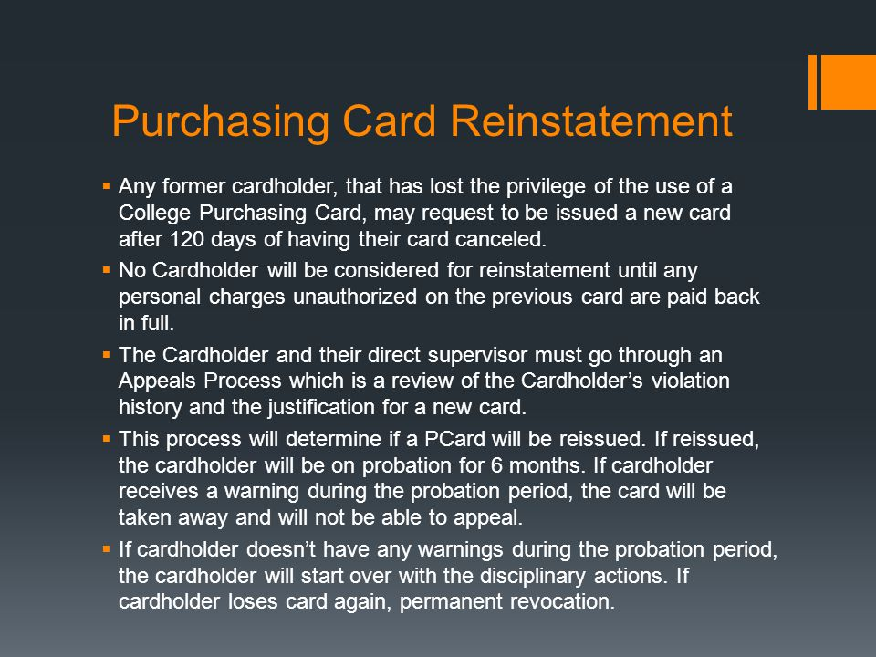 Purchasing Card Reinstatement