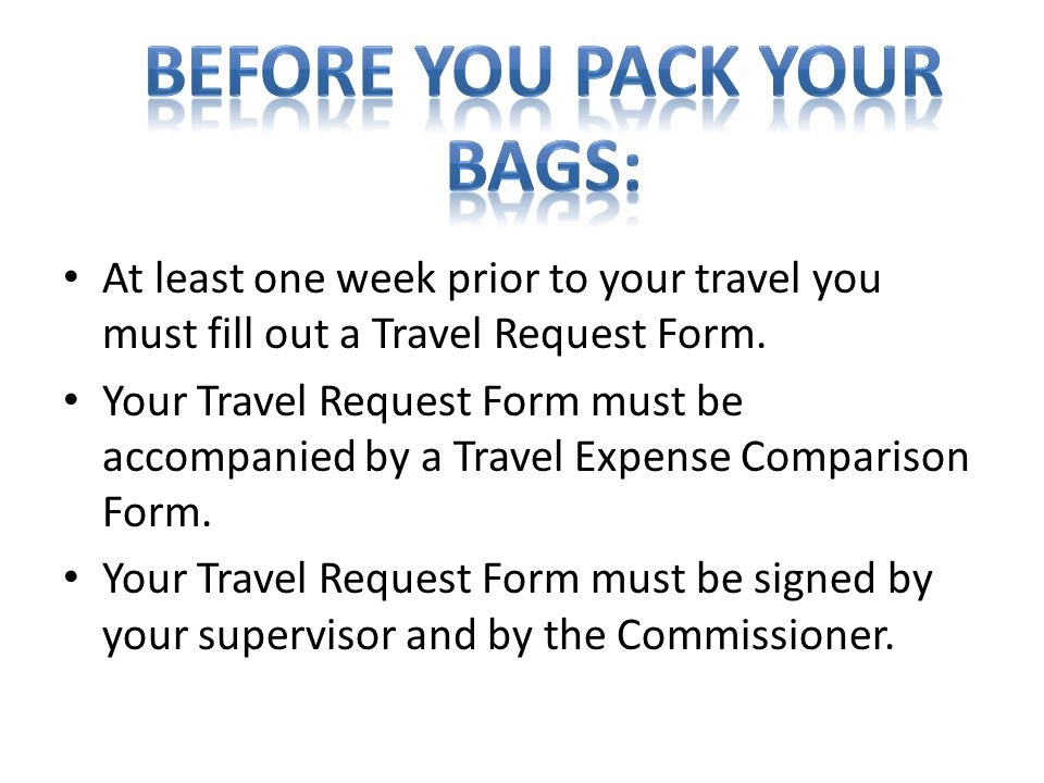 Before you pack your bags: