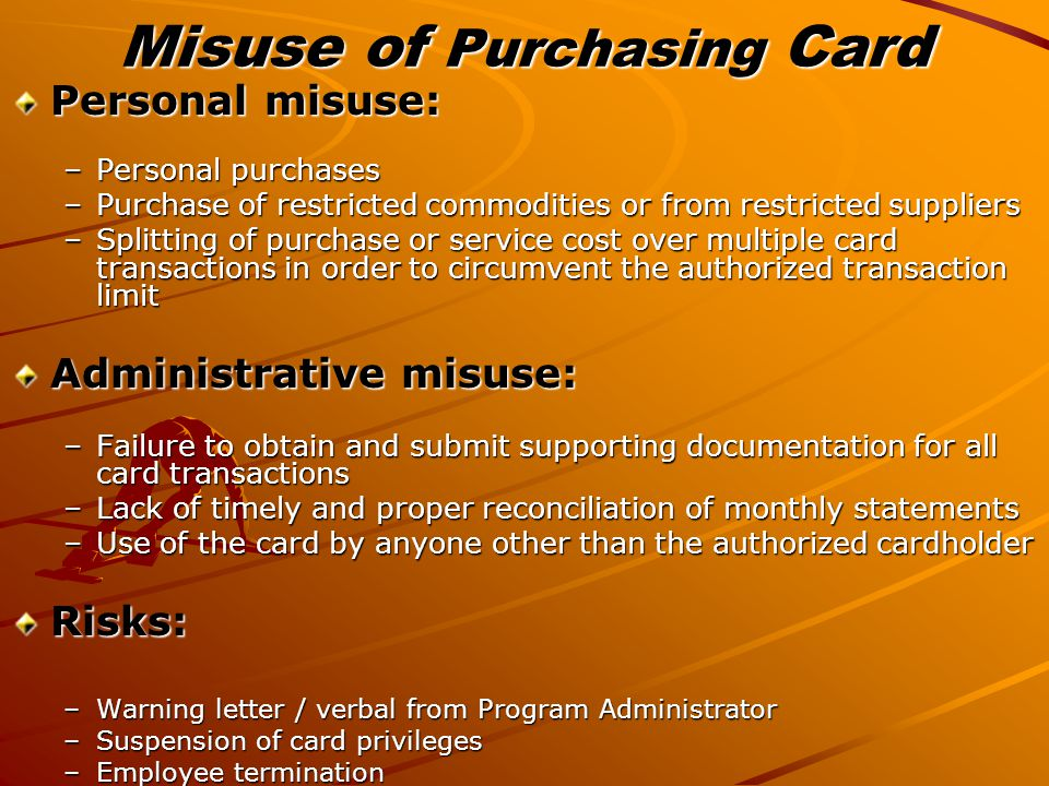 Misuse of Purchasing Card