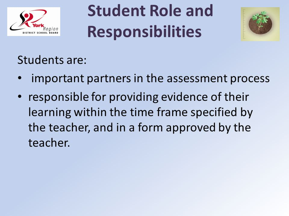 Student Role and Responsibilities