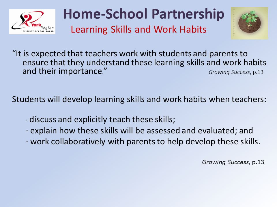 Home-School Partnership Learning Skills and Work Habits