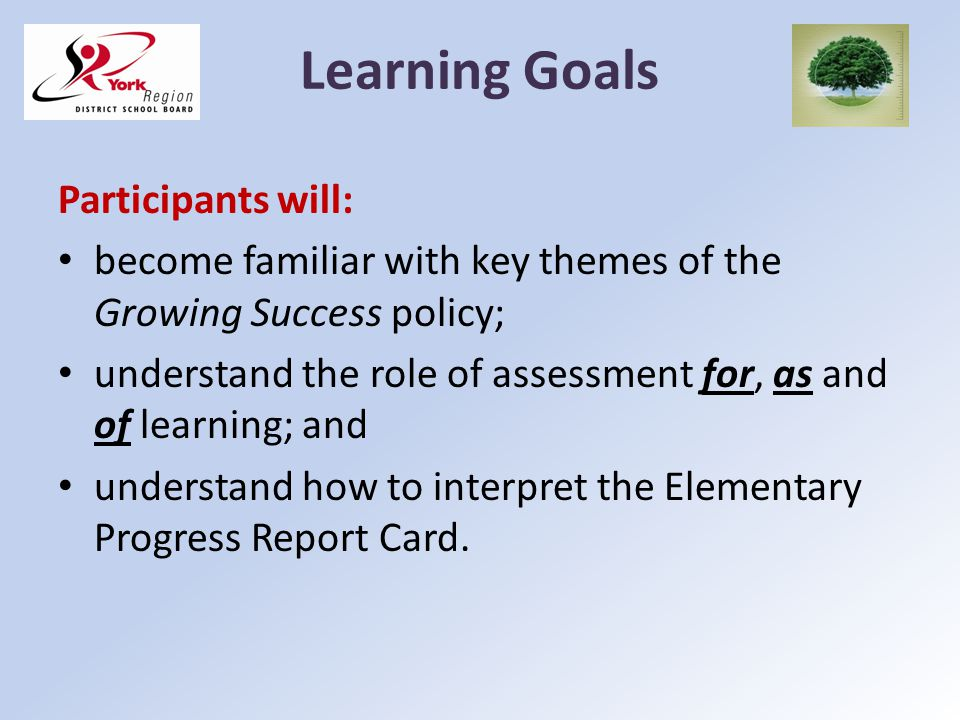 Learning Goals Participants will: