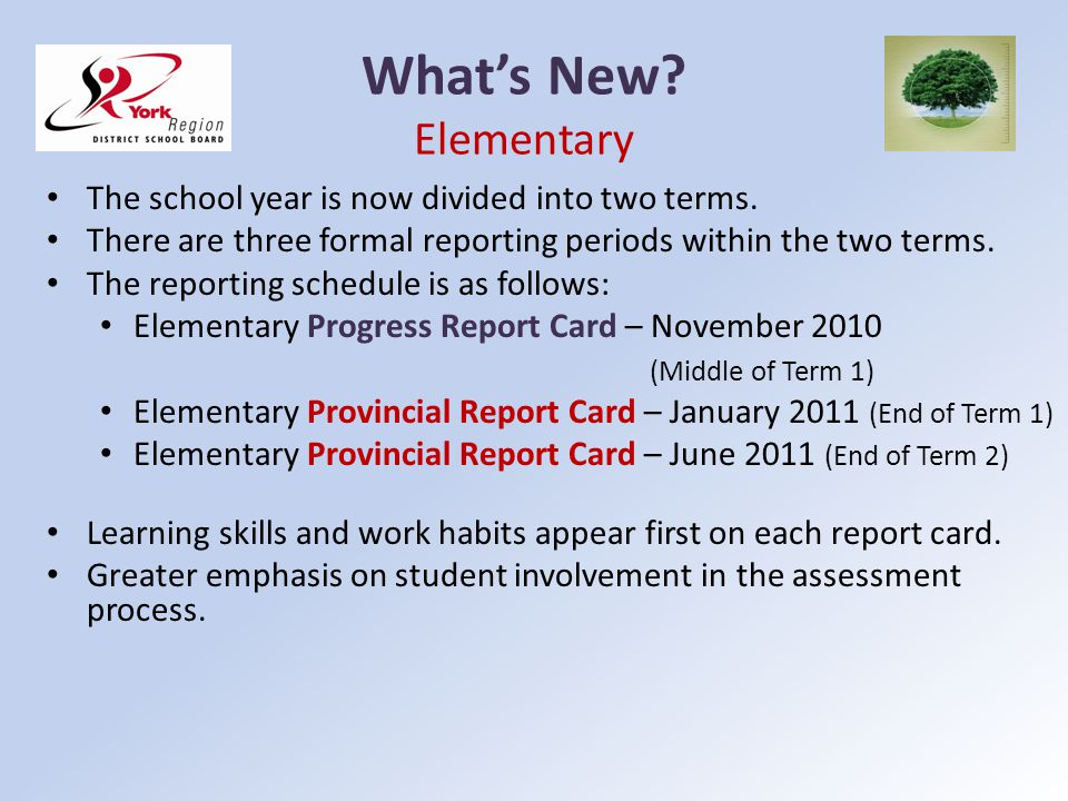 What's New Elementary The school year is now divided into two terms.