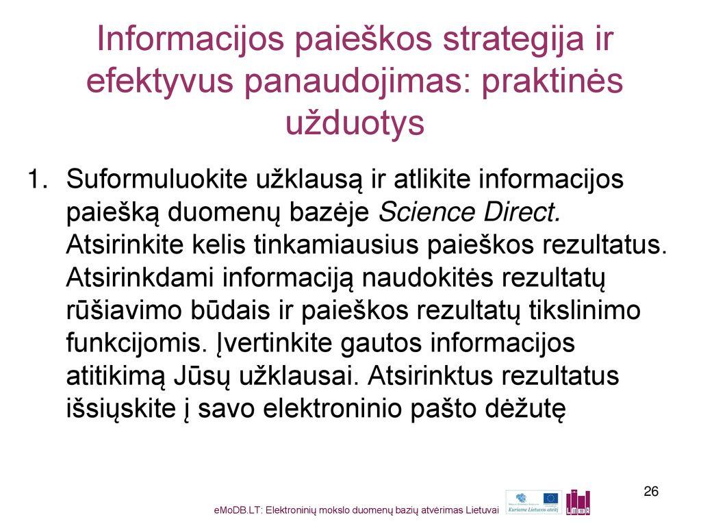 literatūros paieškos strategijos slauga)