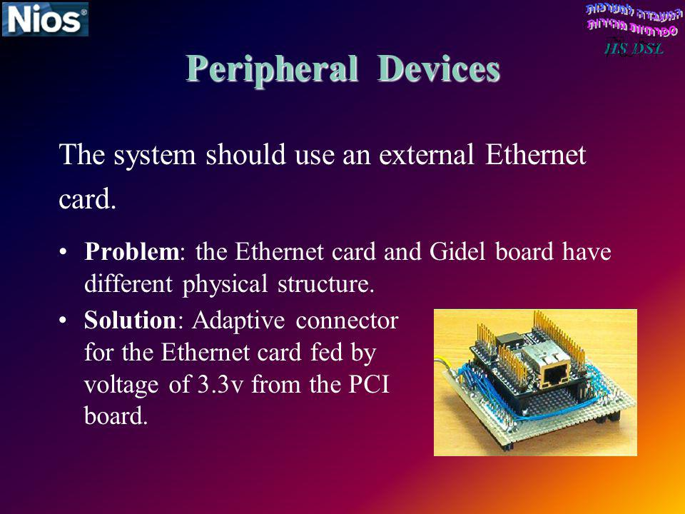 Peripheral Devices The system should use an external Ethernet card.