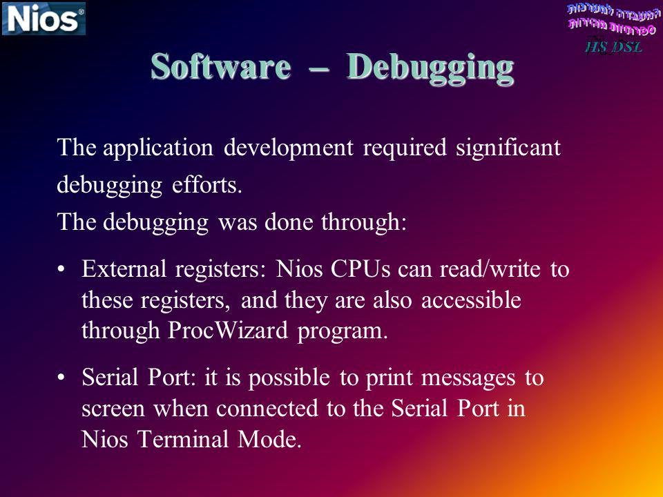 Software – Debugging The application development required significant