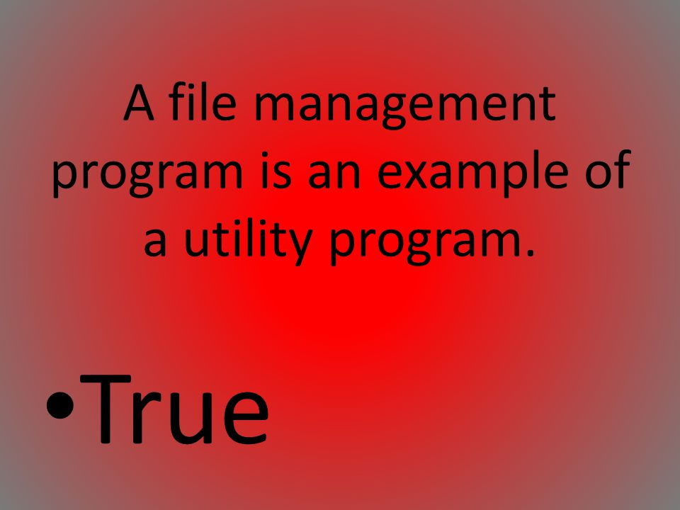 A file management program is an example of a utility program.