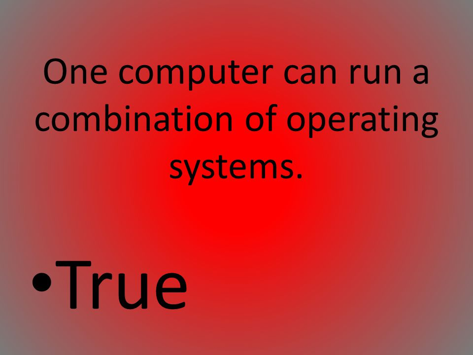 One computer can run a combination of operating systems.