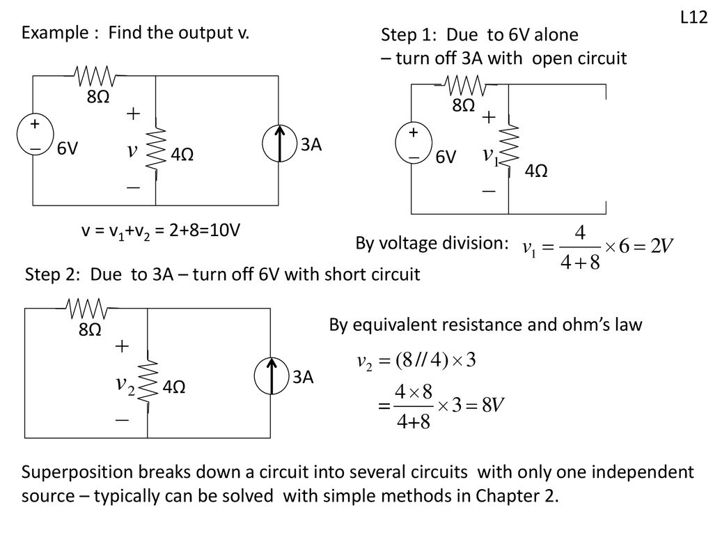 Systematic Tools Can Be Used For Complex Circuits Ppt Download Voltage Divider Designed To Produce 35v Output From 10v Example Find The V Step 1 Due 6v Alone