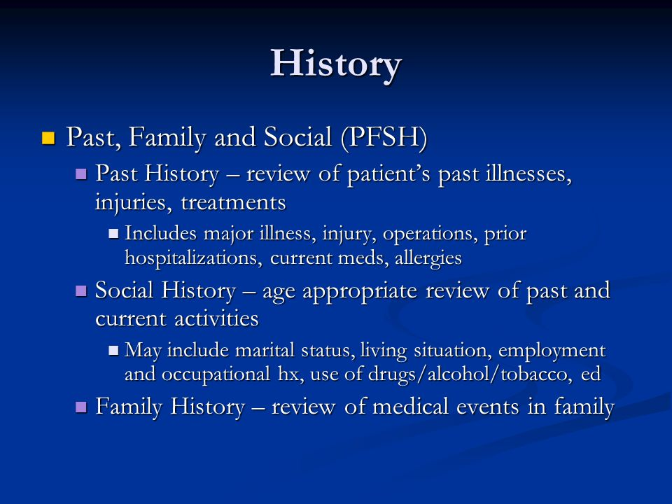 History Past, Family and Social (PFSH)