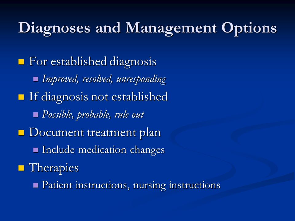 Diagnoses and Management Options