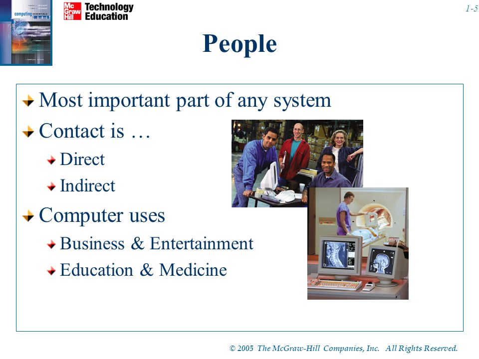 People Most important part of any system Contact is … Computer uses