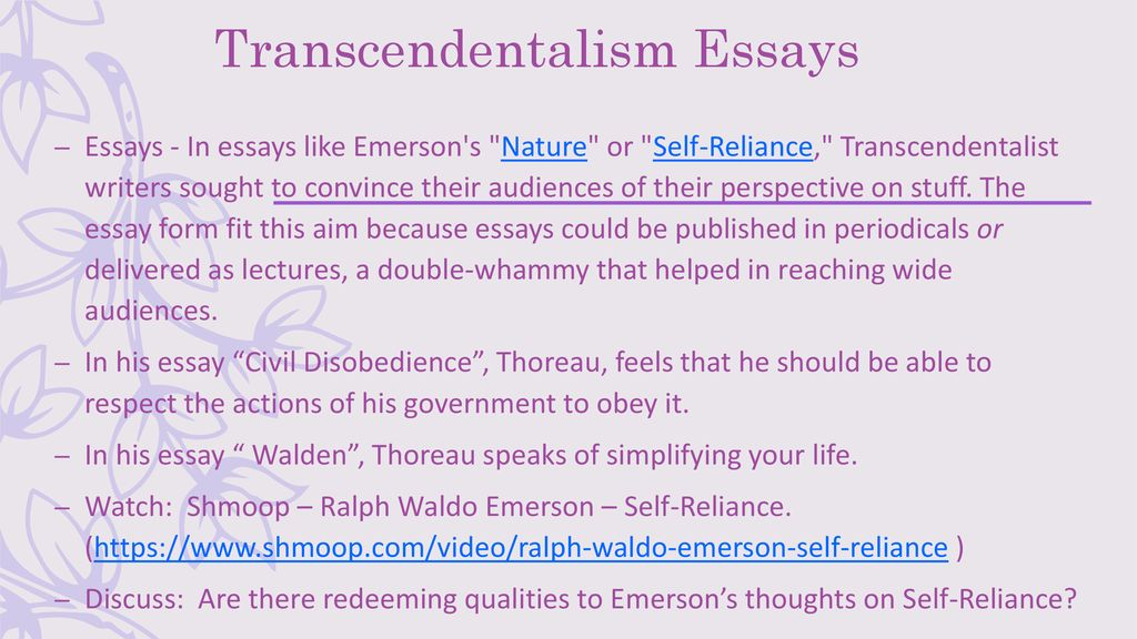 What Is An Essay Thesis Transcendentalism Essays High School Graduation Essay also Essay Writing Examples For High School Nature And Individualism  Transcendentalism  Ppt Download Essay Papers Examples