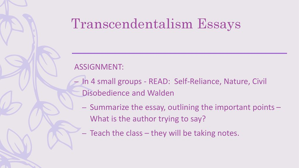 Essay Of Newspaper Transcendentalism Essays Research Essay Proposal Template also Proposal Essay Topics List Nature And Individualism  Transcendentalism  Ppt Download Apa Essay Paper