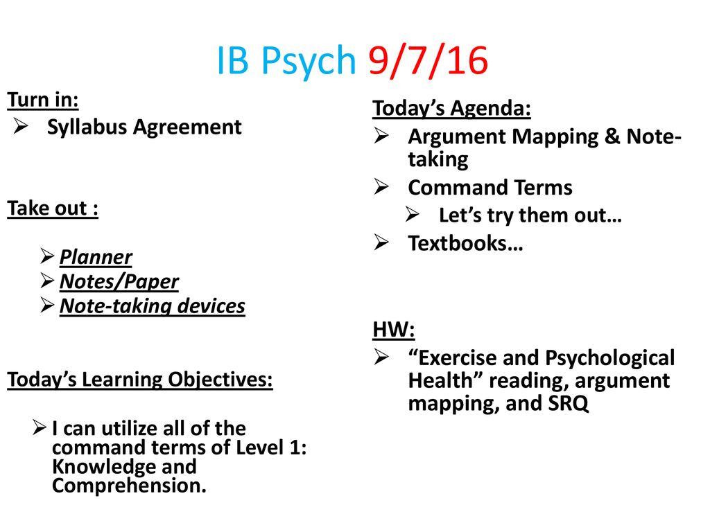 IB Psych 9/7/16 Today's Agenda: Syllabus Agreement - ppt
