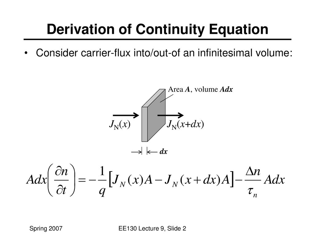 Lecture #9 OUTLINE Continuity equations - ppt download