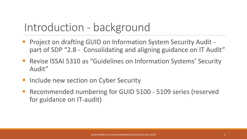 Progress Report on proposed GUID on Information System