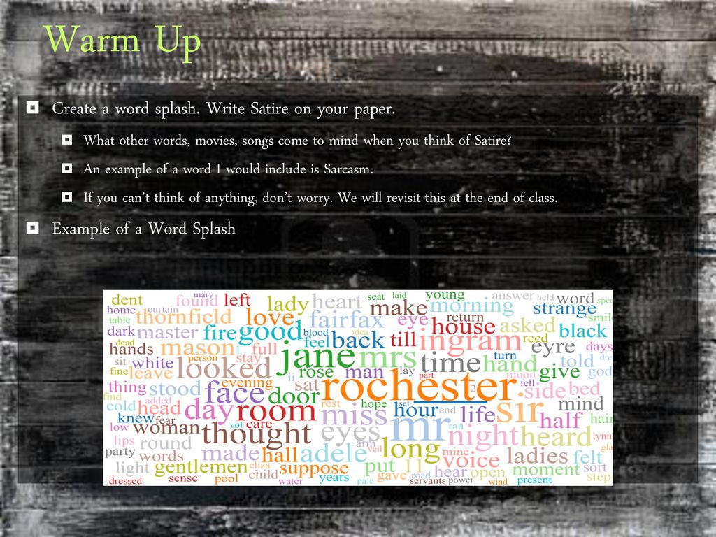 Warm Up Create A Word Splash Write Satire On Your Paper Ppt