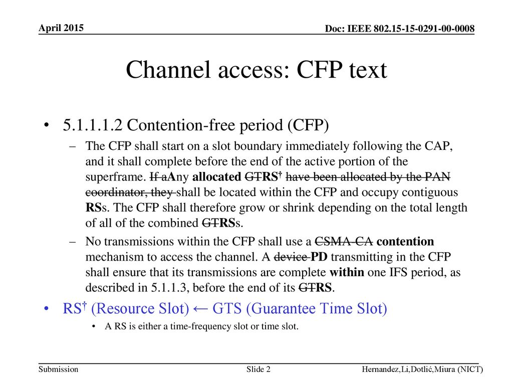 Channel access: CFP text