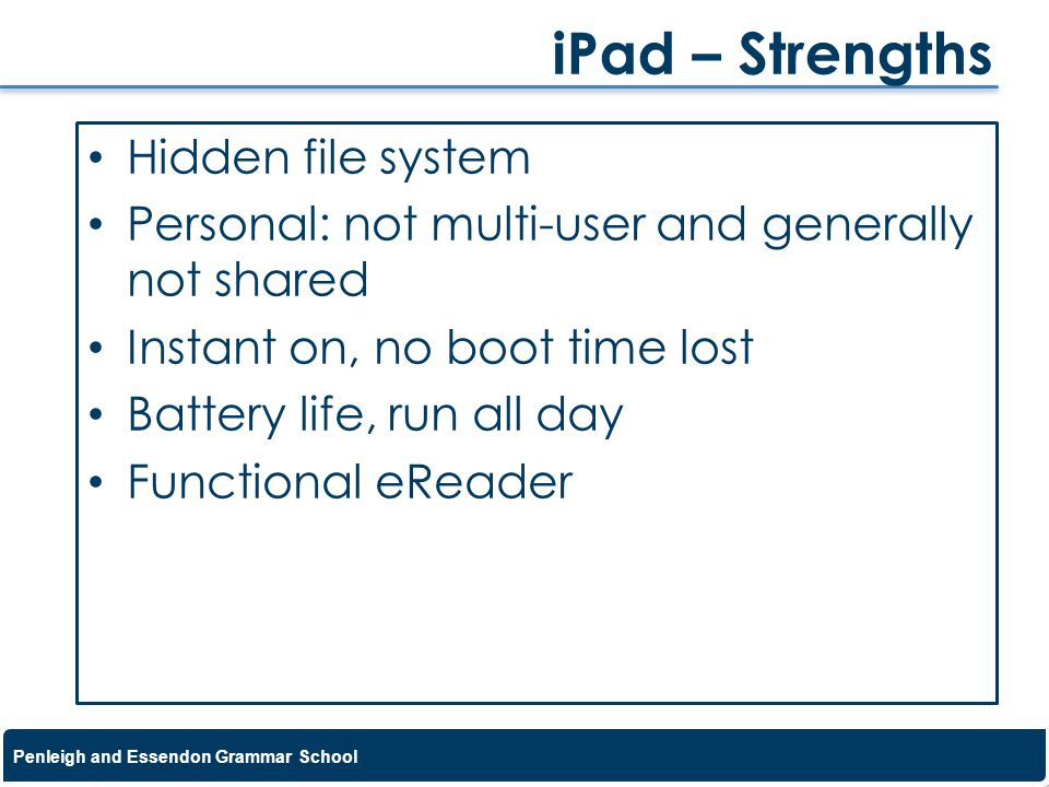iPad – Strengths Hidden file system