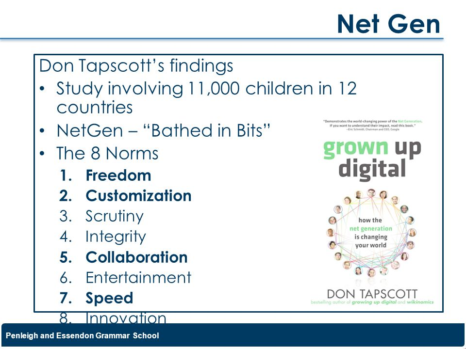 Net Gen Don Tapscott's findings