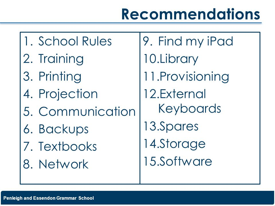 Recommendations School Rules Training Printing Projection
