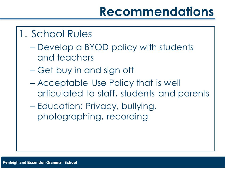 Recommendations School Rules