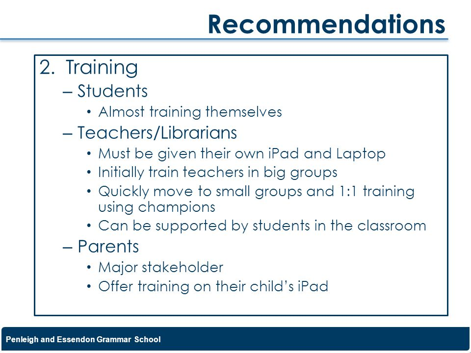 Recommendations Training Students Teachers/Librarians Parents