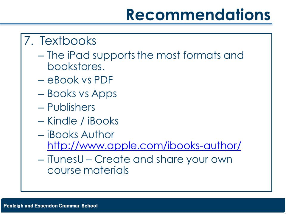 Recommendations Textbooks