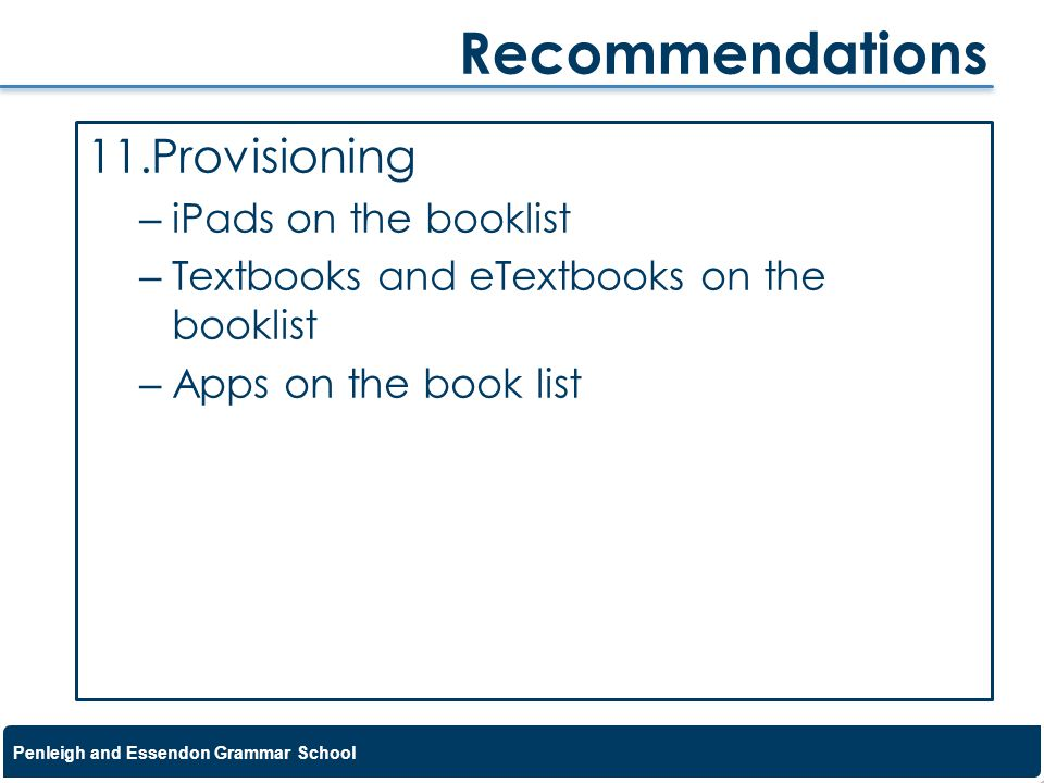 Recommendations Provisioning iPads on the booklist