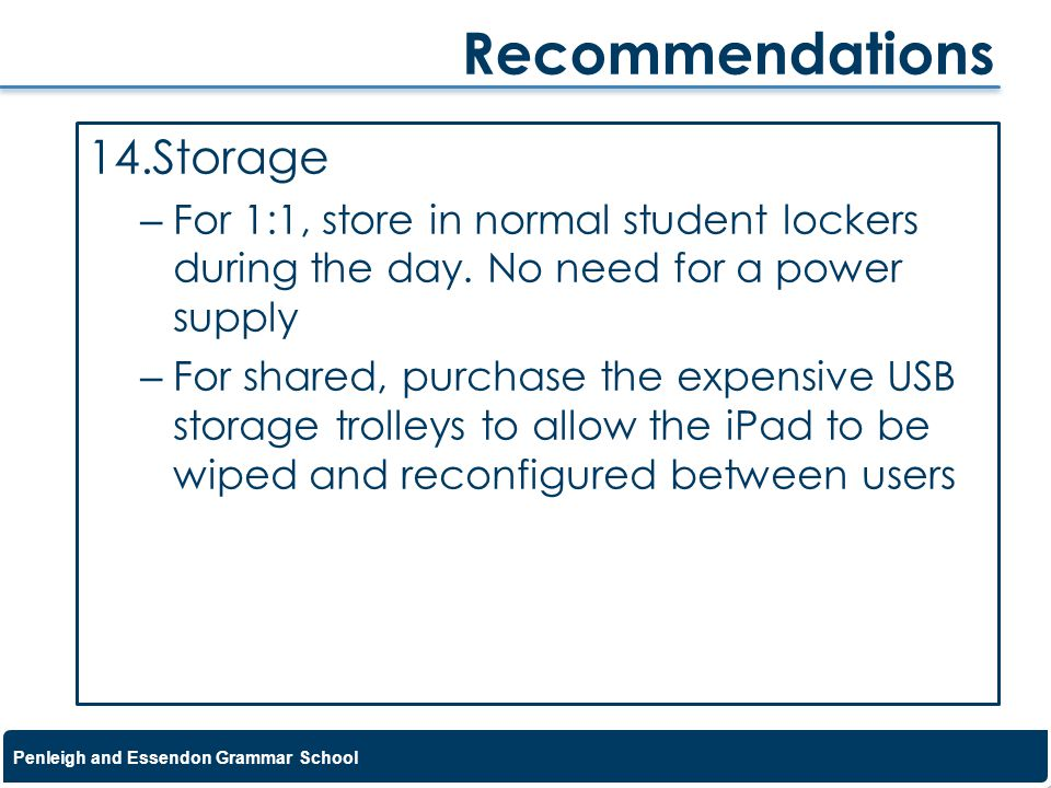 Recommendations Storage