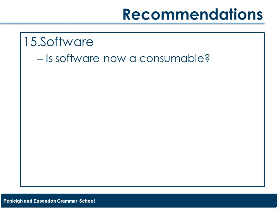 Recommendations Software Is software now a consumable