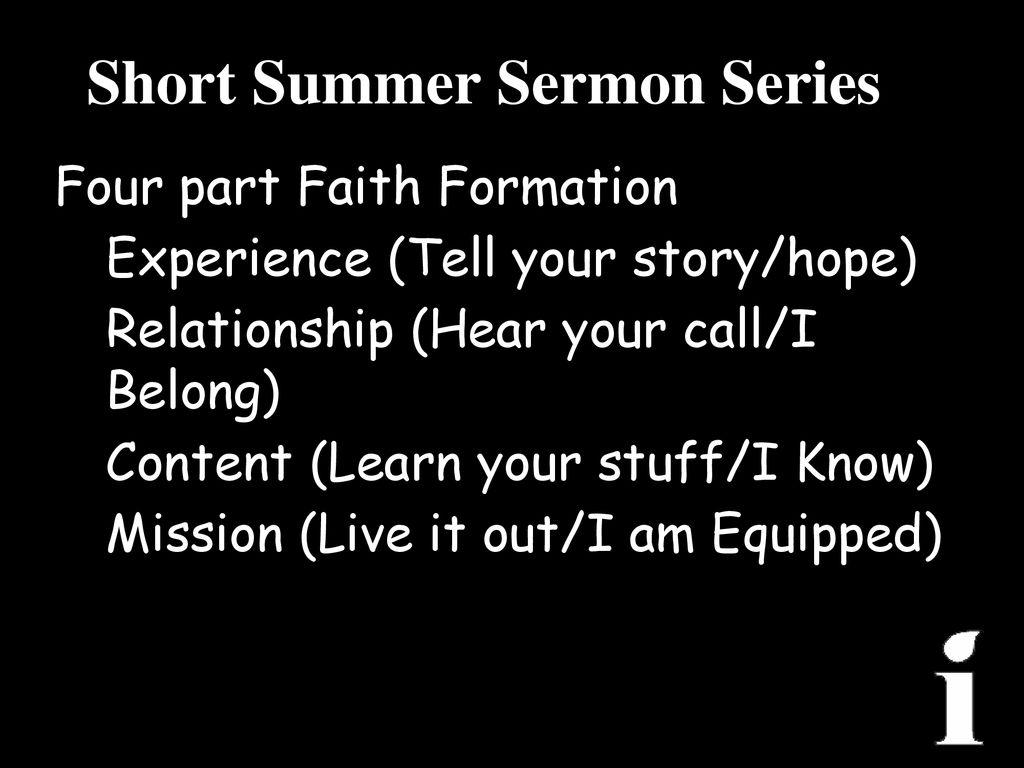 Short Summer Sermon Series - ppt download