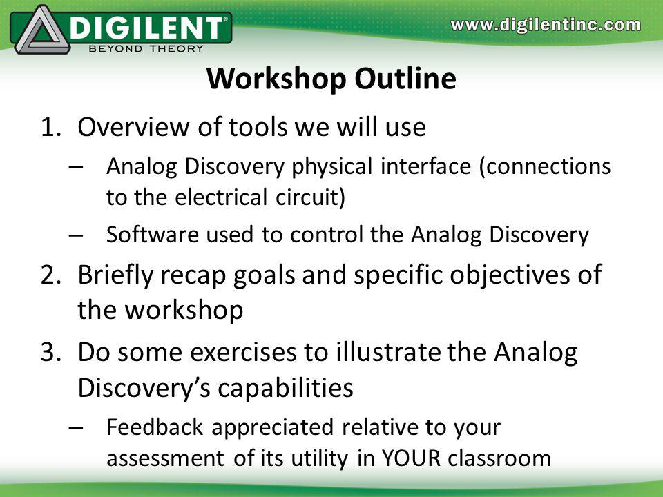 Welcome! You should have an Analog Discovery module, a USB