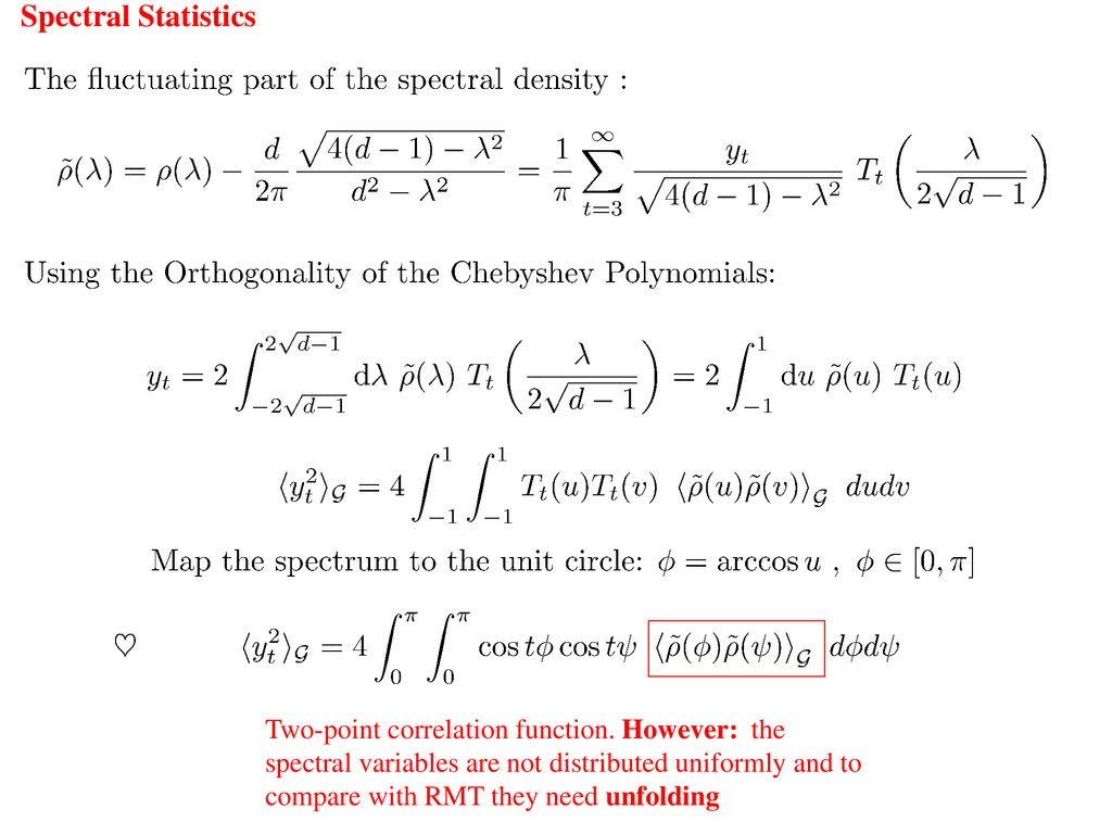 3  Spectral statistics  Random Matrix Theory in a nut shell
